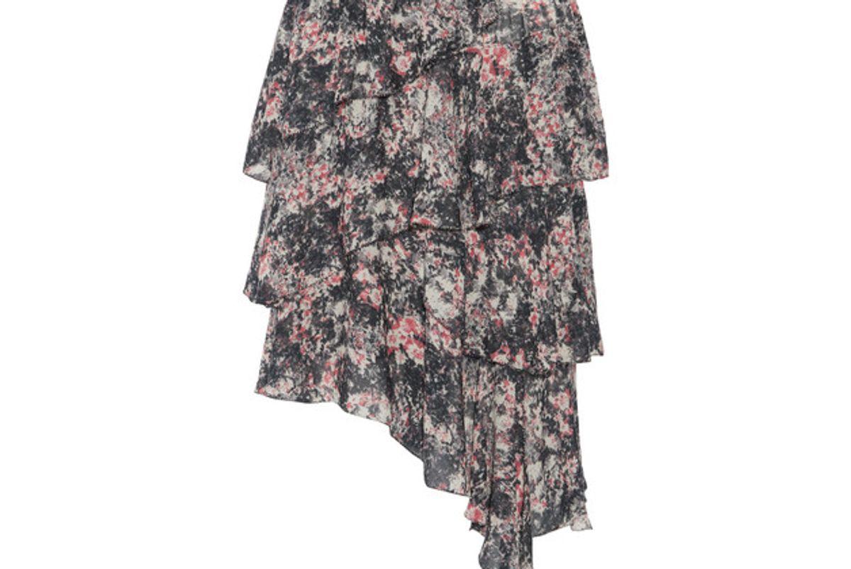 Jeezon Asymmetric Tiered Printed Georgette Skirt