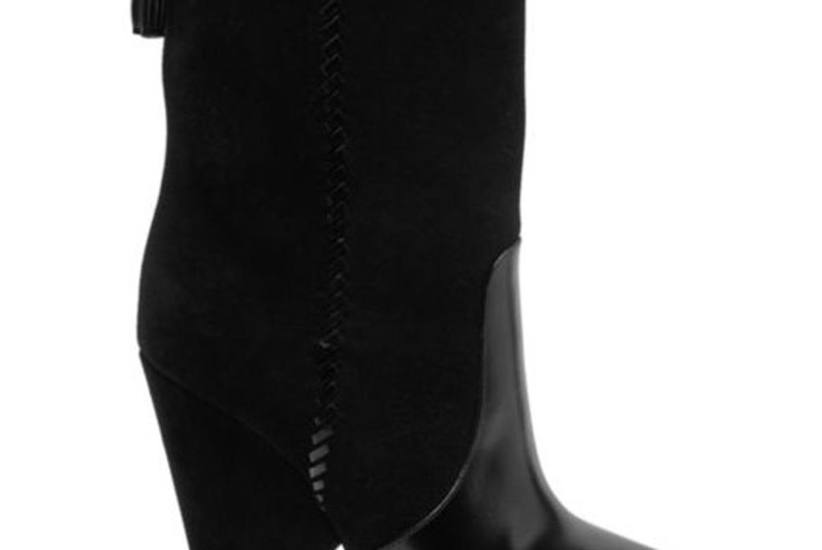 Niki Whipstitch Suede & Leather Point Toe Booties