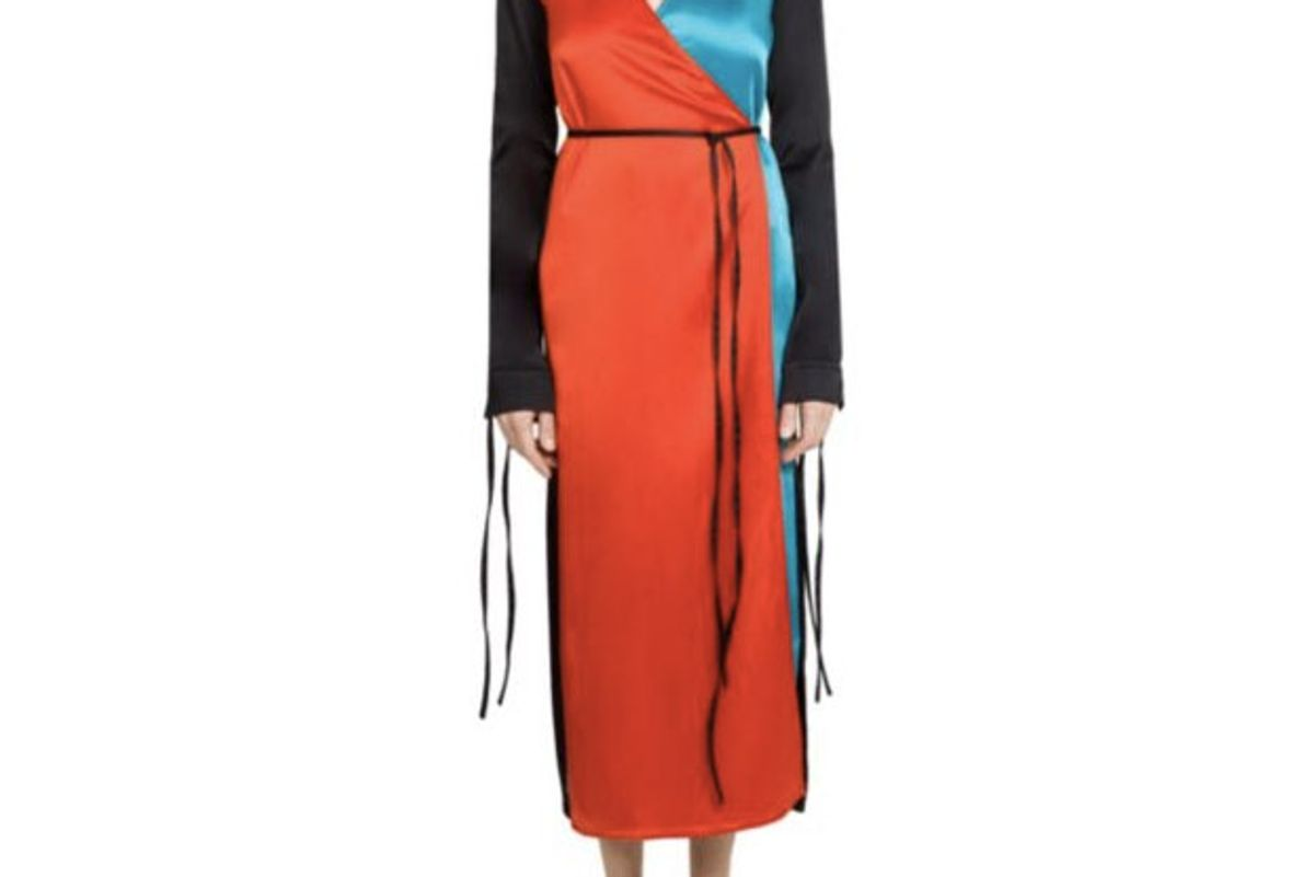 Colorblock Tie-Front Robe Dress