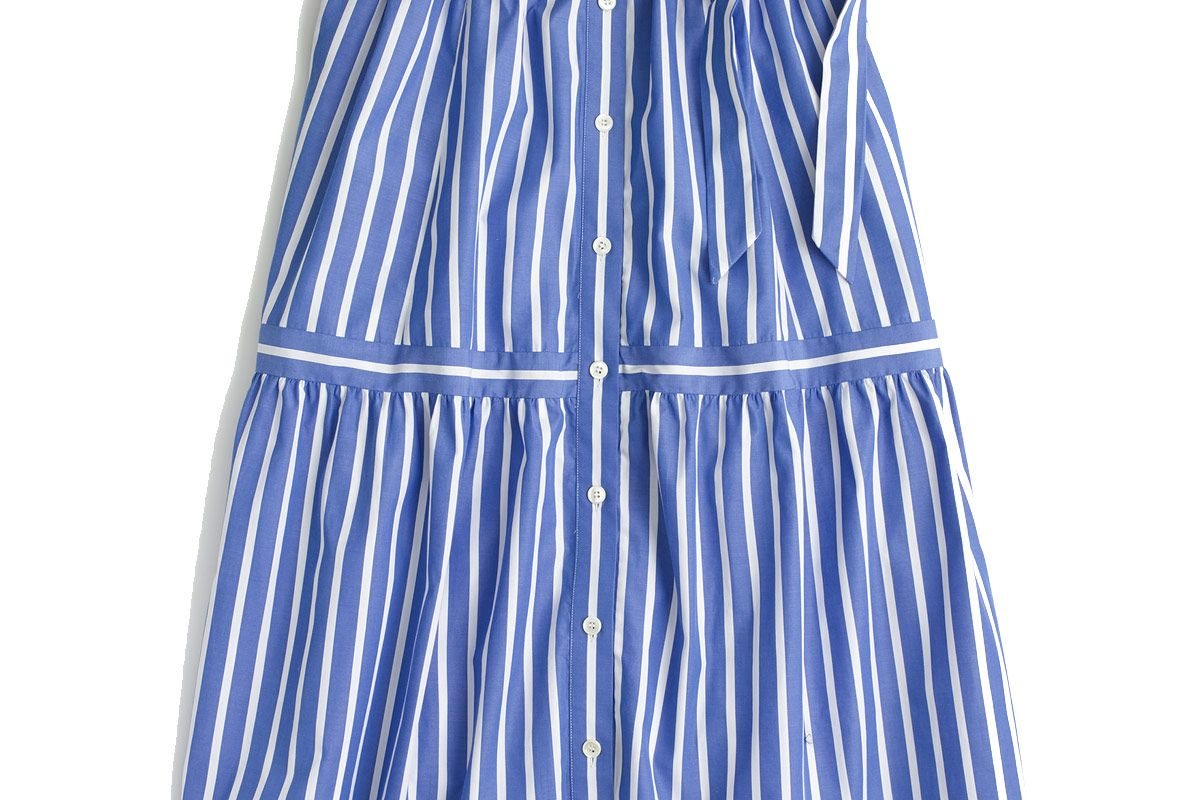 Button-Front Striped Skirt