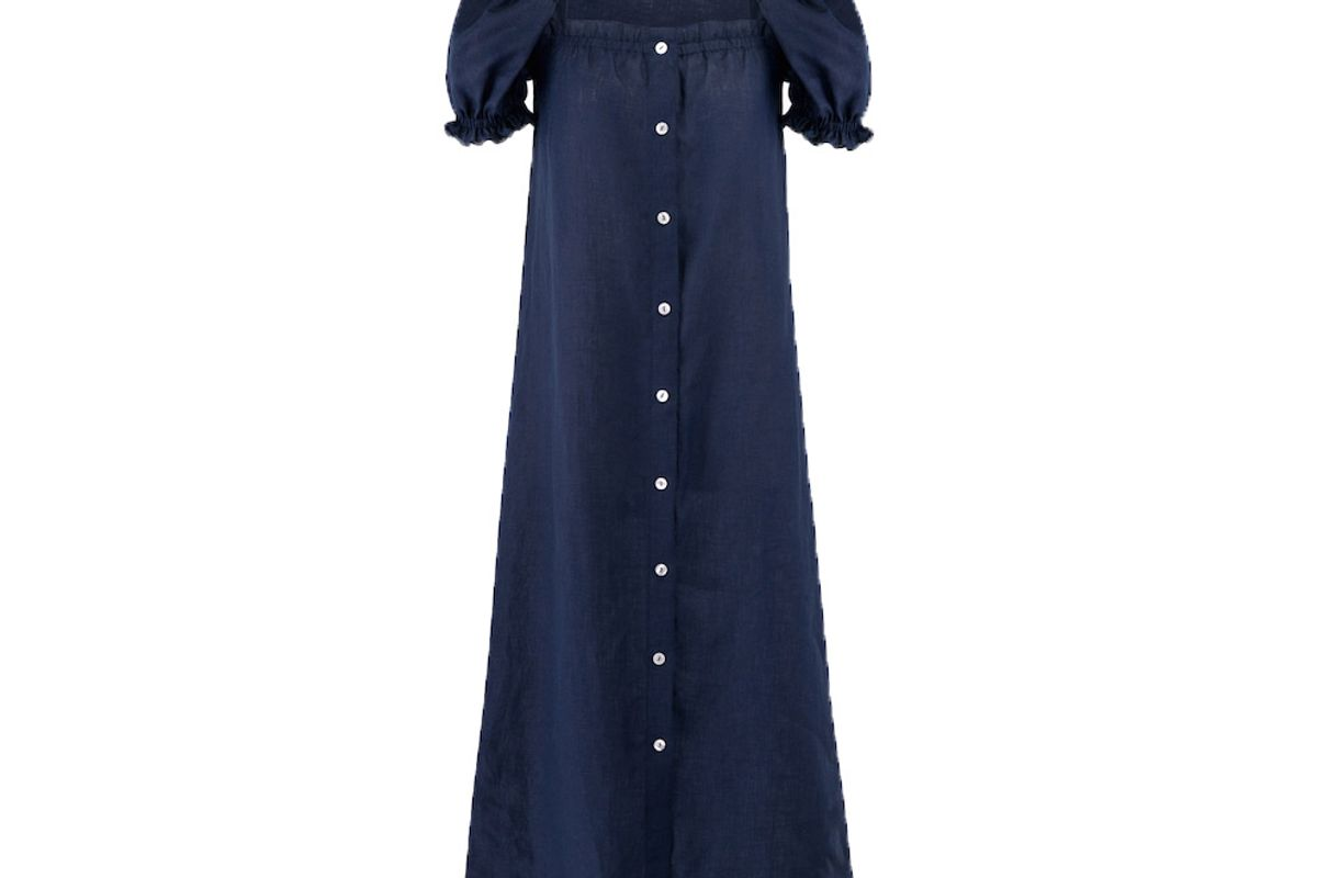 sleeper navy linen long dress