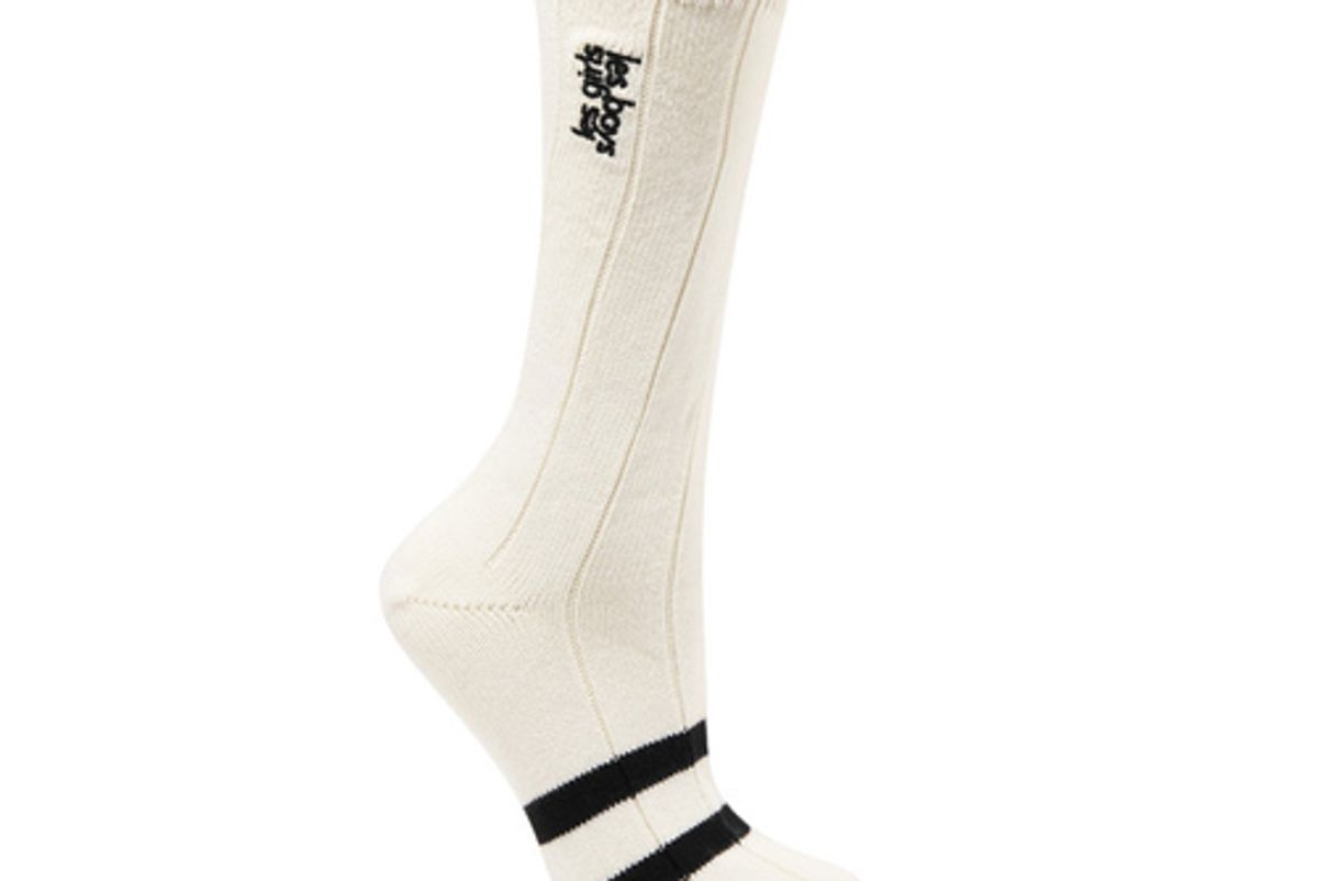 les girls les boys classic embroidered striped cotton blend socks
