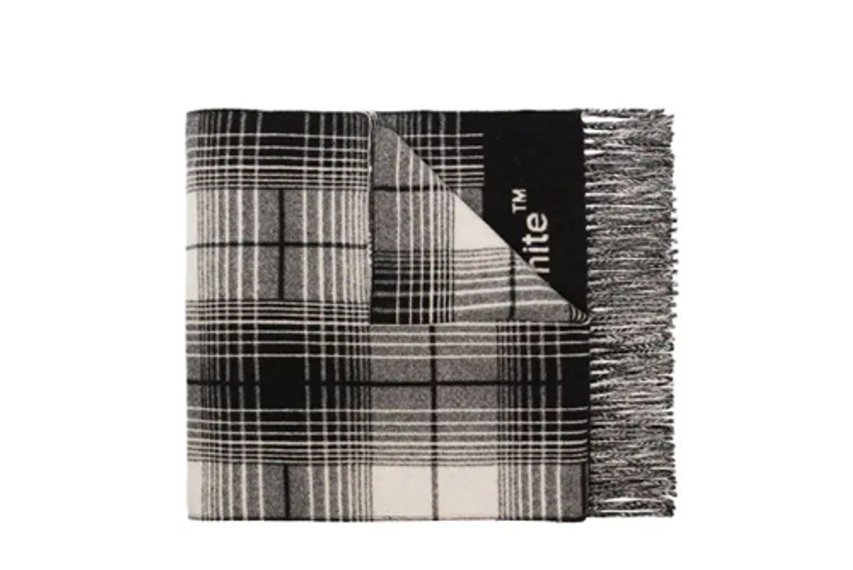 off white grey white and black check logo wool scarf