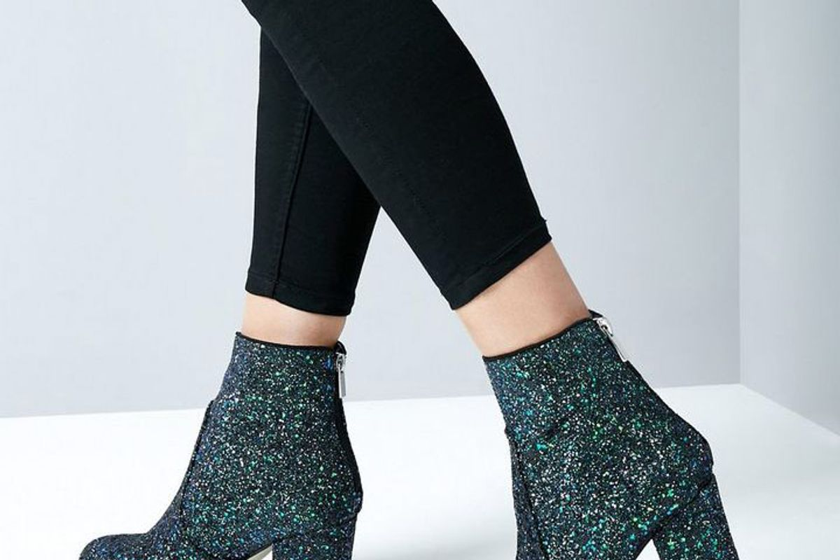 Blue Glitter Heeled Boots