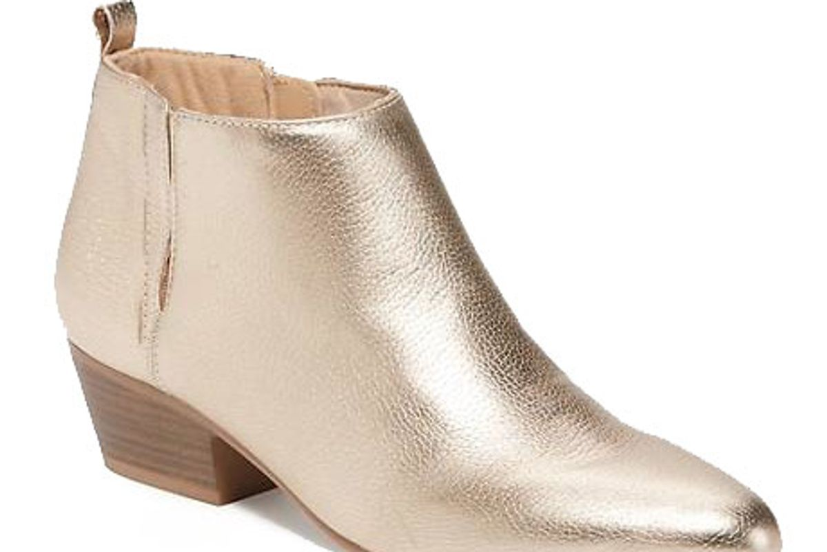 Metallic Faux-Leather Low Ankle-Boots for Women