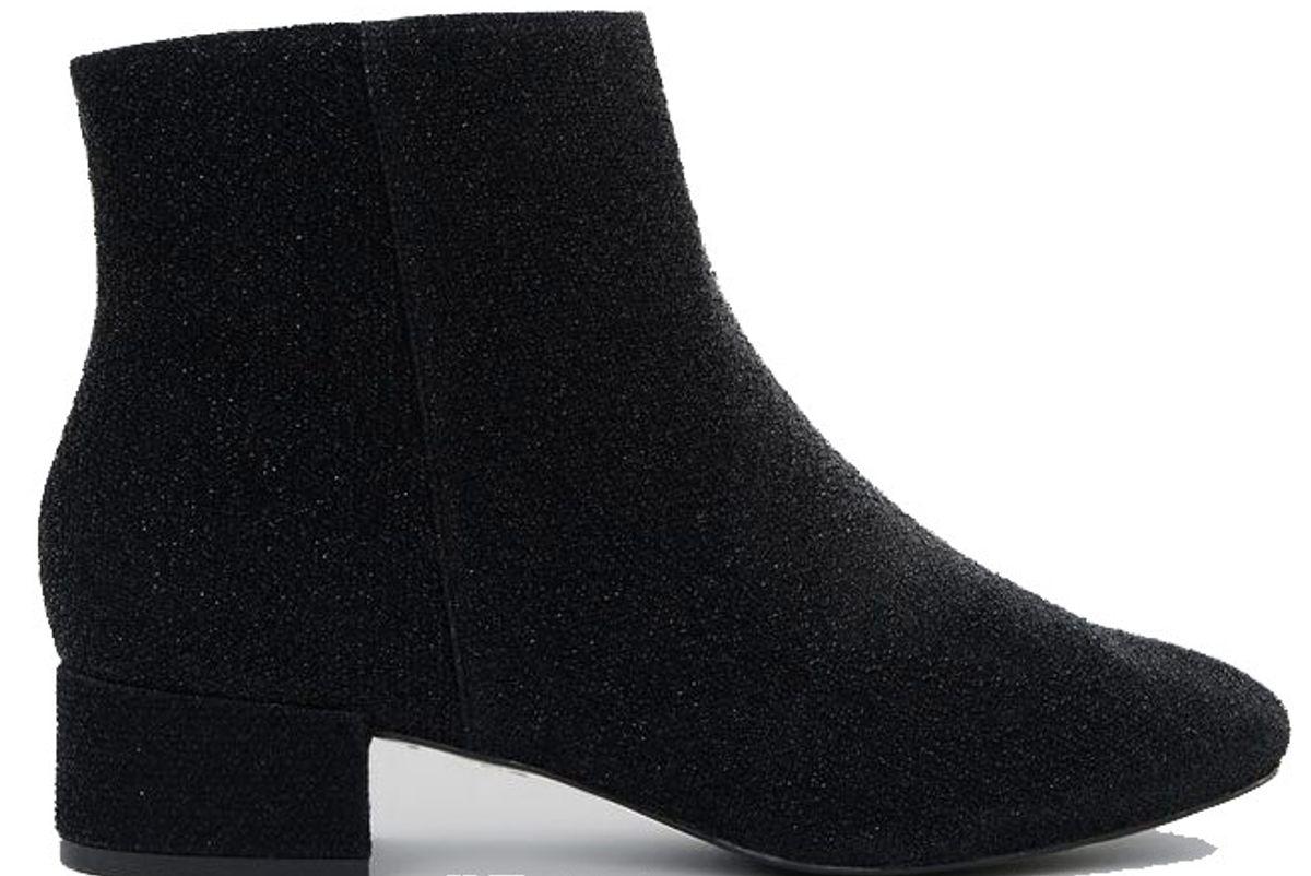 Wide Fit Black Glitter Block Heel Ankle Boots