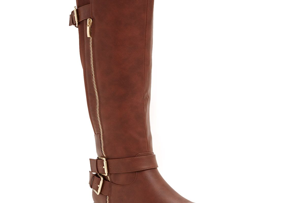 Double Buckle Side Zip Knee-High Boots