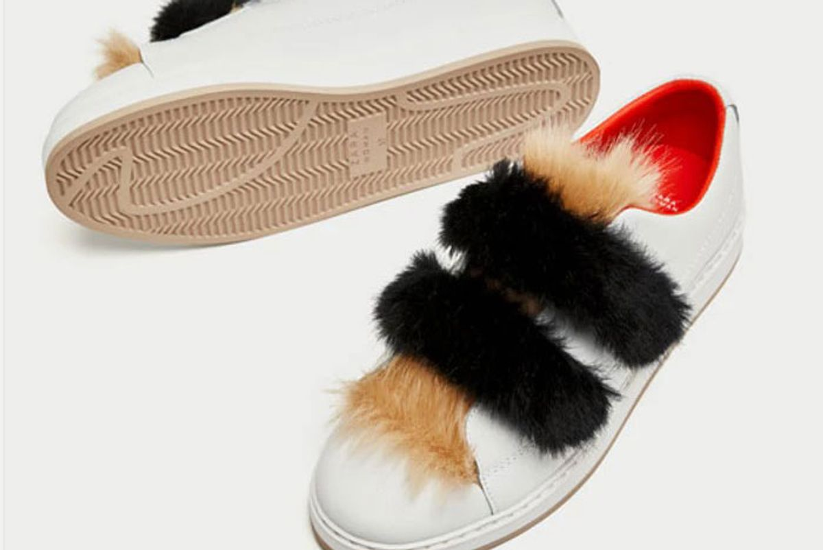 Leather Sneakers With Faux Fur and Hook and Loop Straps