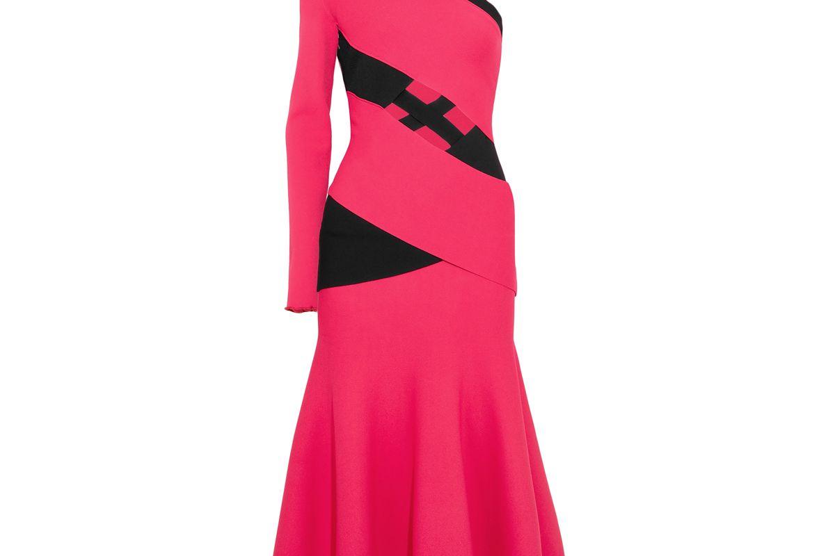 proenza schouler fluted one shoulder cutout two tone stretch midi dress