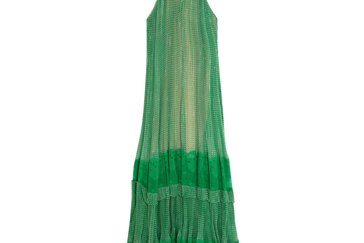 stella mccartney lace paneled printed silk blend georgette gown