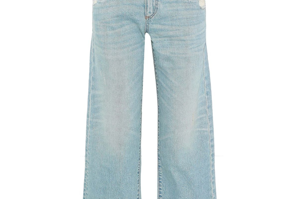 simon miller cropped distressed low rise wide leg jeans