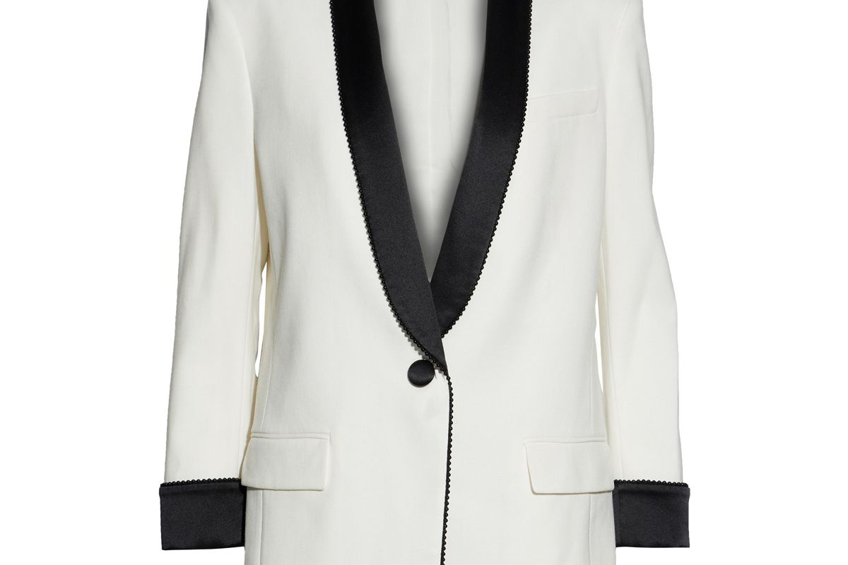 alexander wang embellished satin paneled twill blazer
