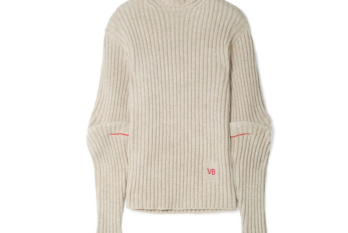 victoria beckham embroidered ribbed wool turtleneck sweater