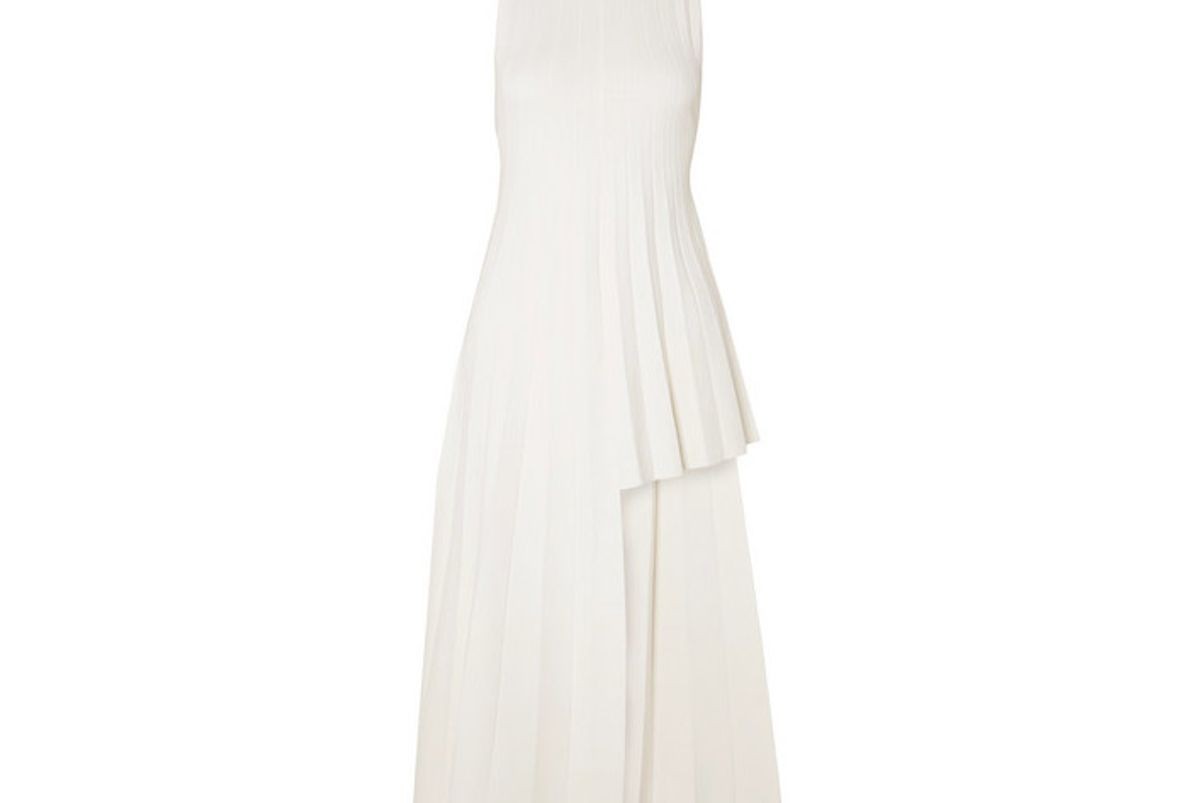 peter do asymmetric pleated ribbed knit dress