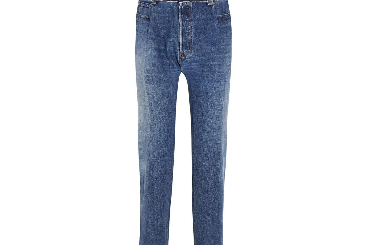 Reworked high-rise slim-leg jeans