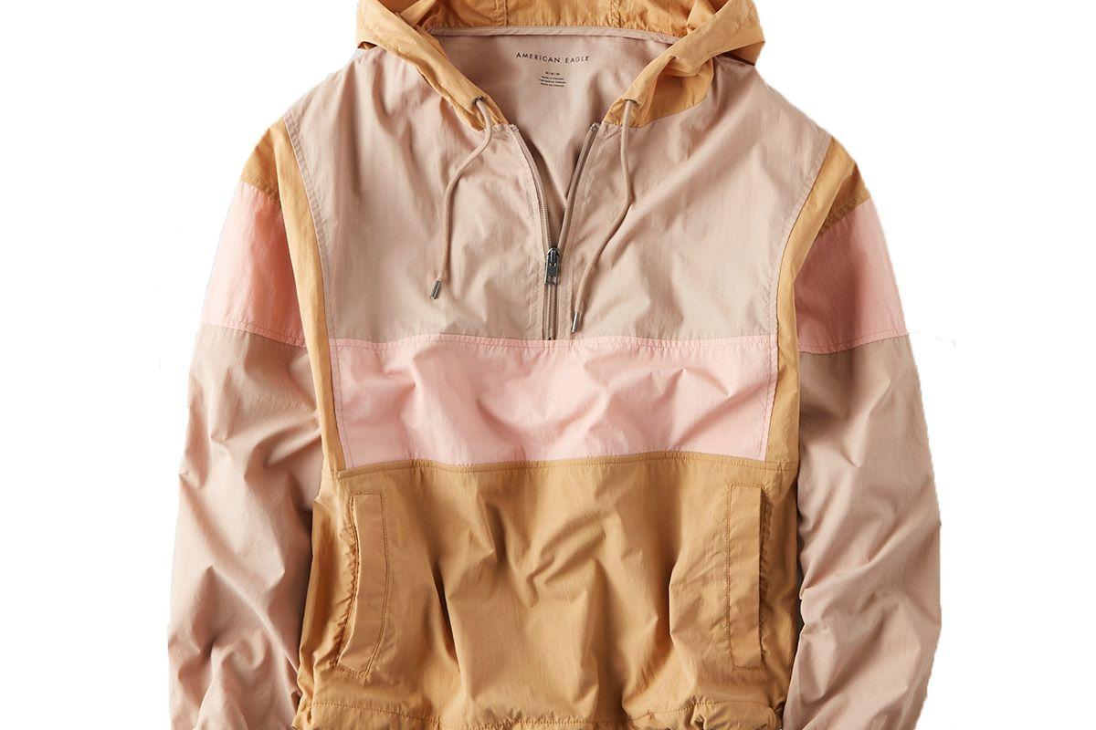 ae color block popover windbreaker jacket brown