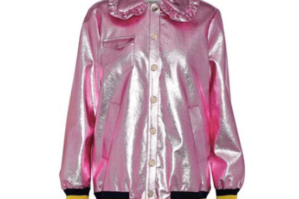 baum und pferdgarten bryna metallic faux leather bomber jacket