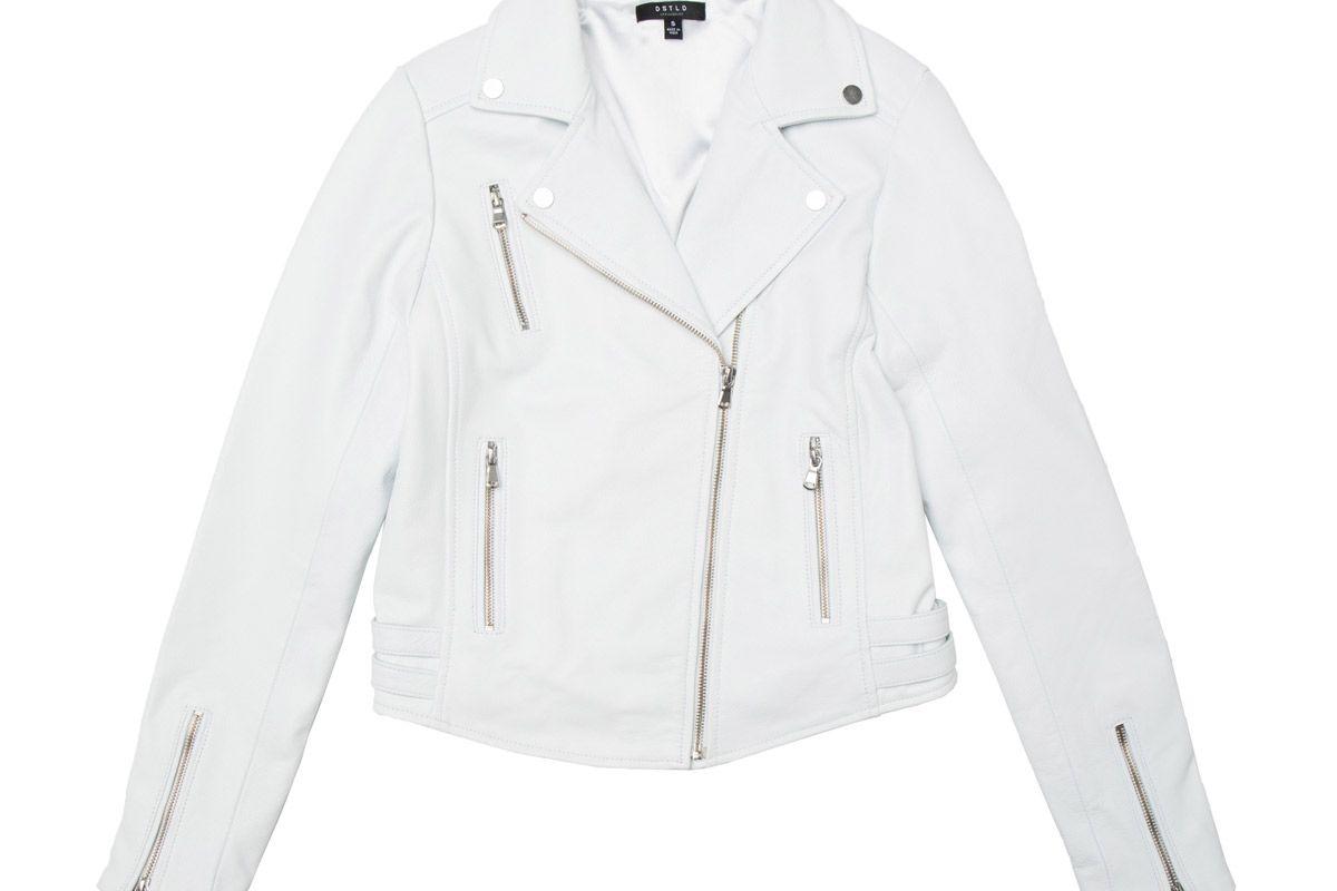 dstld white leather moto jacket product