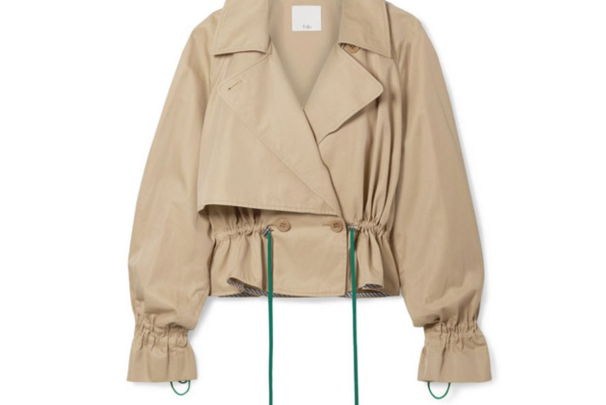 tibi finn cropped cotton twill jacket