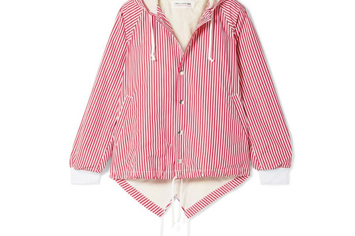 comme des garcons girl oversized hooded striped cotton poplin jacket