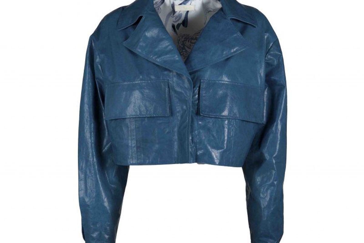 drome it blue paper leather short jacket
