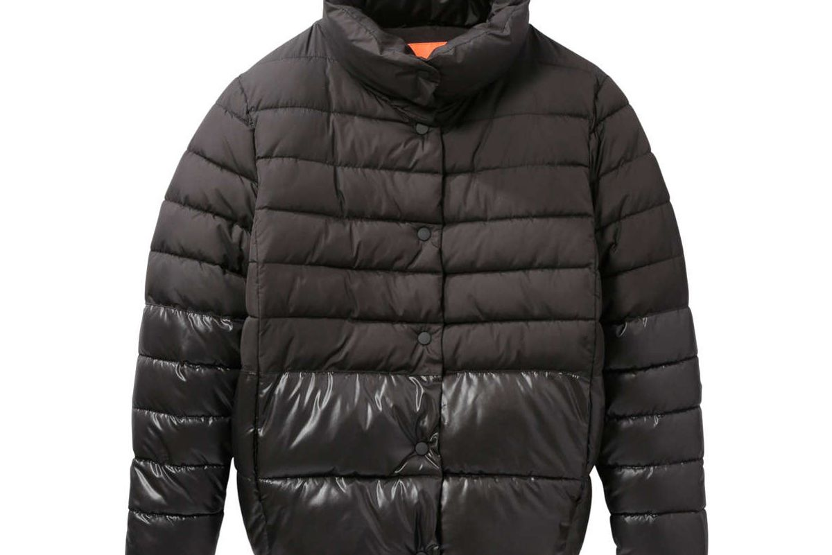 Colour Block Puffer Coat