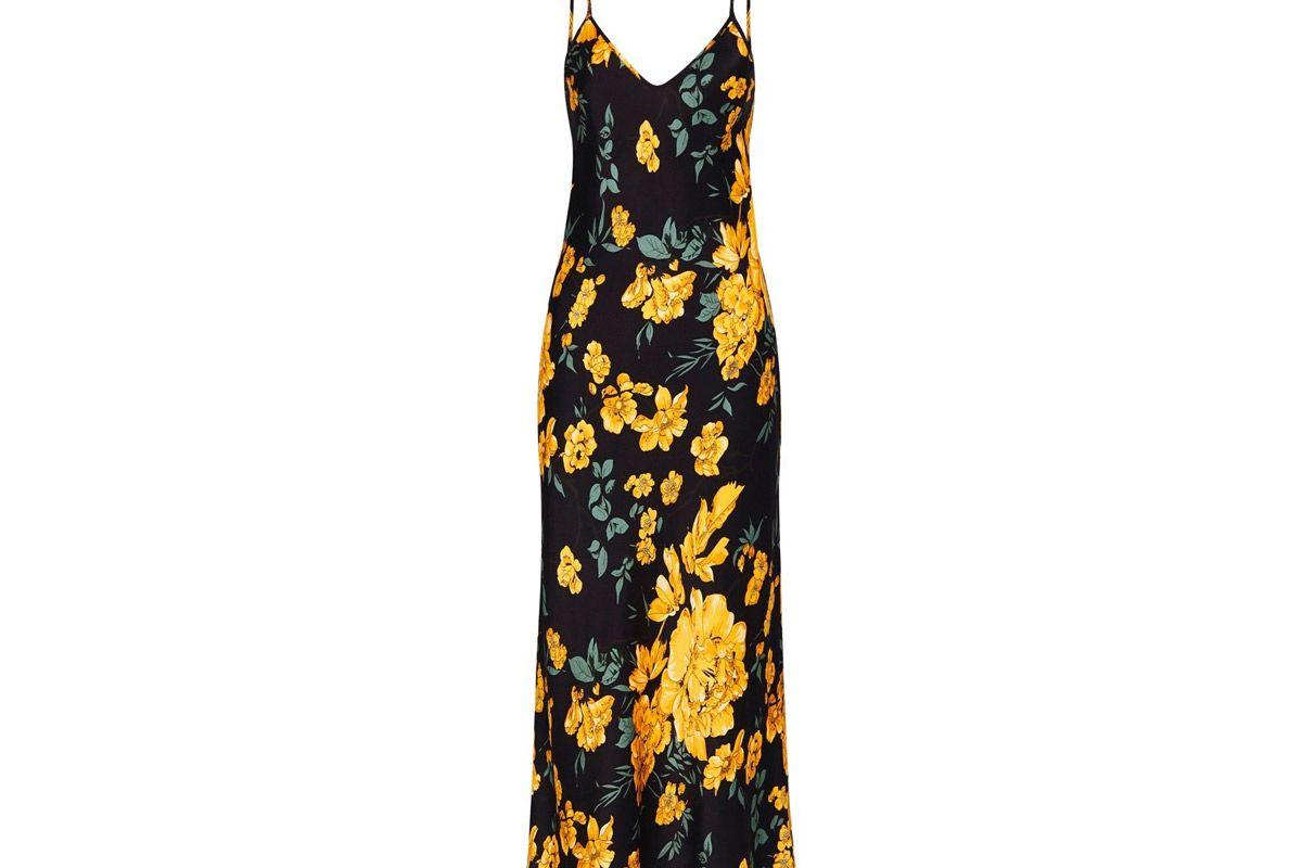 silk laundry 90s silk slip dress yellow flora