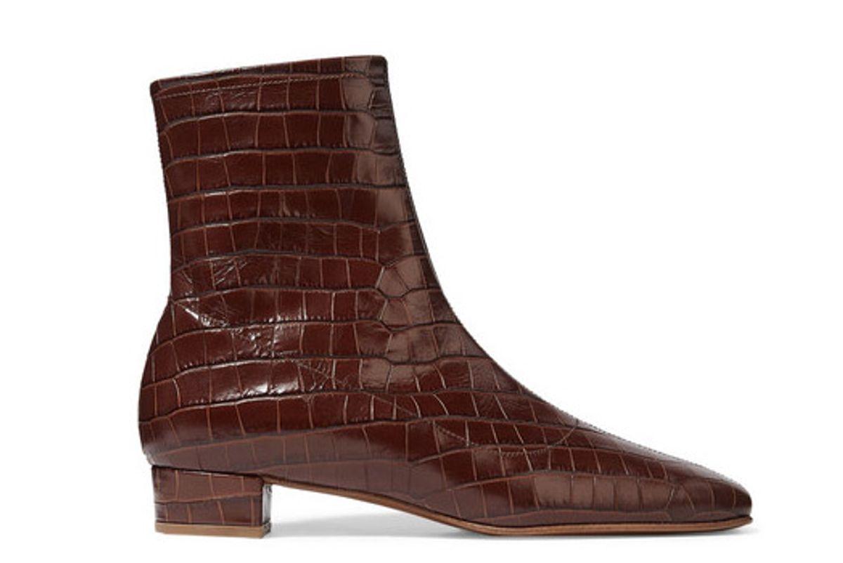 by far este croc effect leather ankle boots