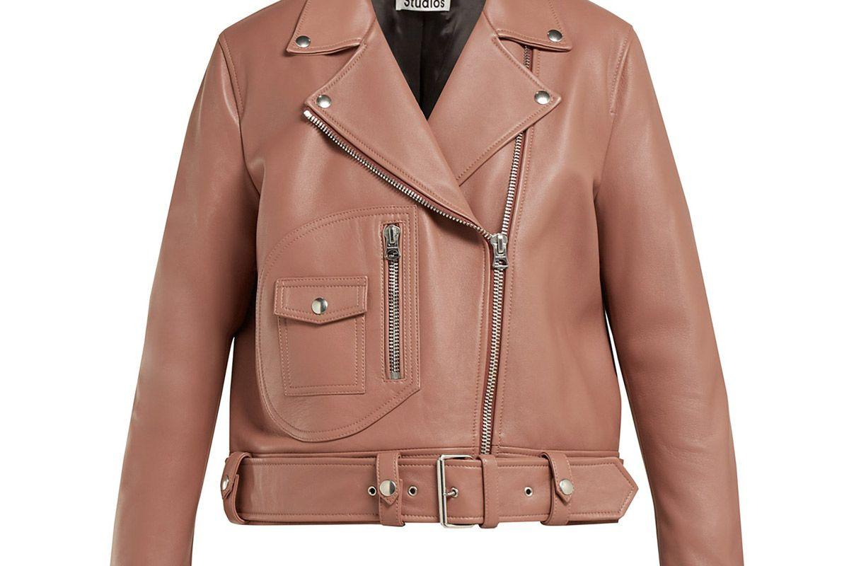 acne studios merlyn oversized leather biker jacket