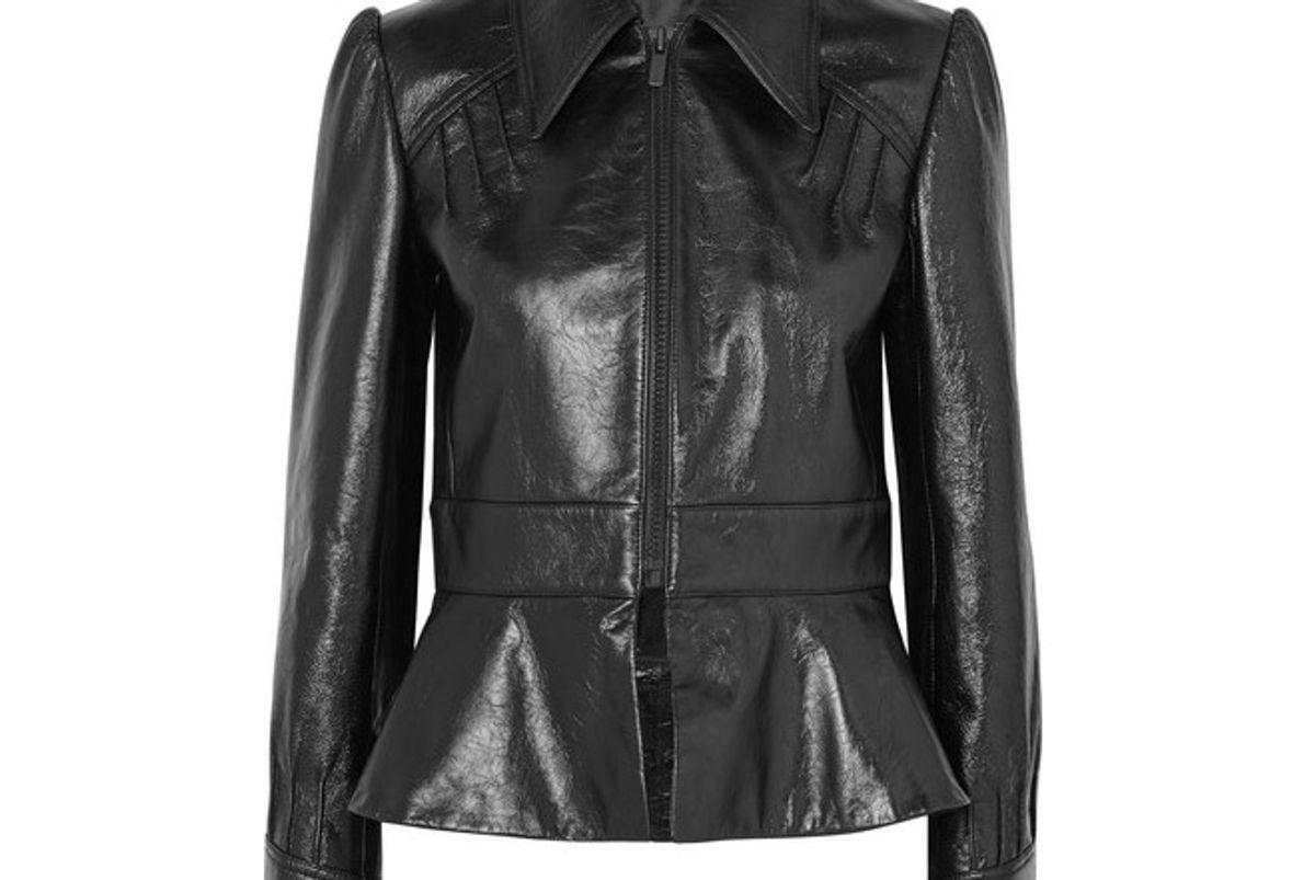 miu miu glossed leather peplum jacket