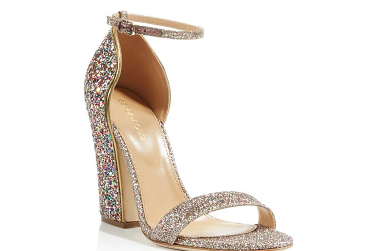 Freda Glitter Block Heel Ankle Strap Sandals