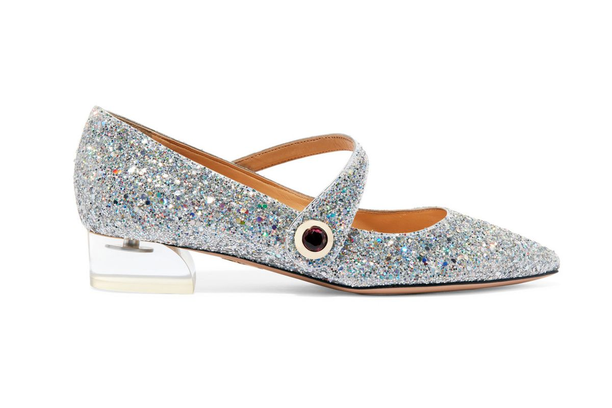 Uma glittered canvas point-toe flats