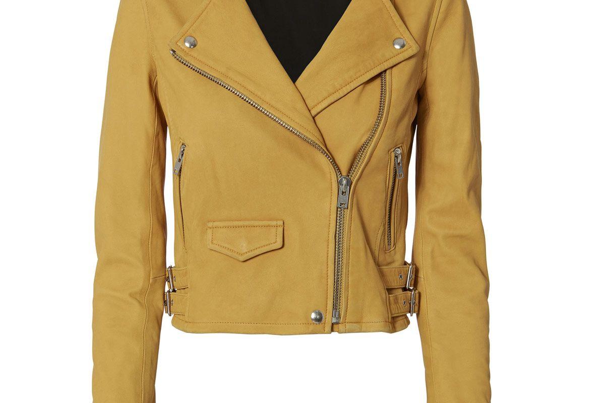Ashville Yellow Cropped Leather Jacket