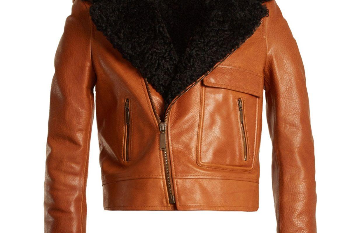 Shearling-Lapel Leather Biker Jacket