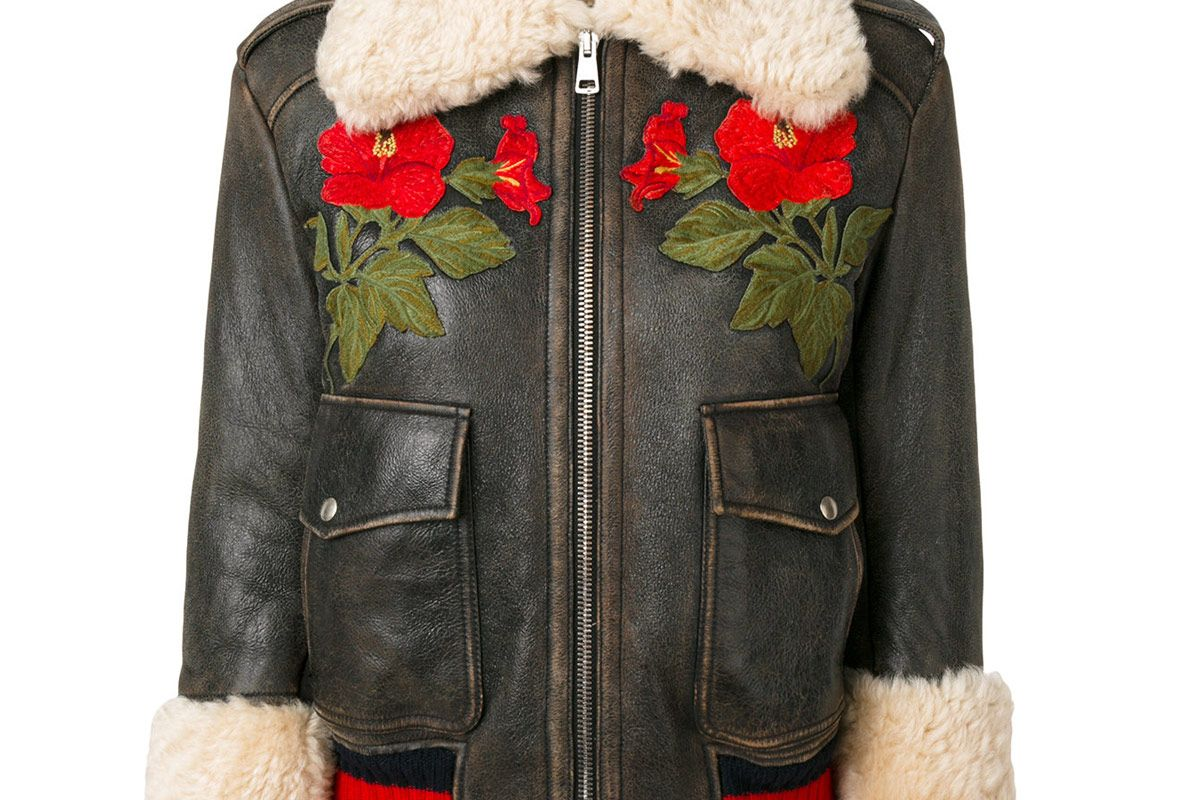 Embroidered Shearling Lined Bomber Jacket