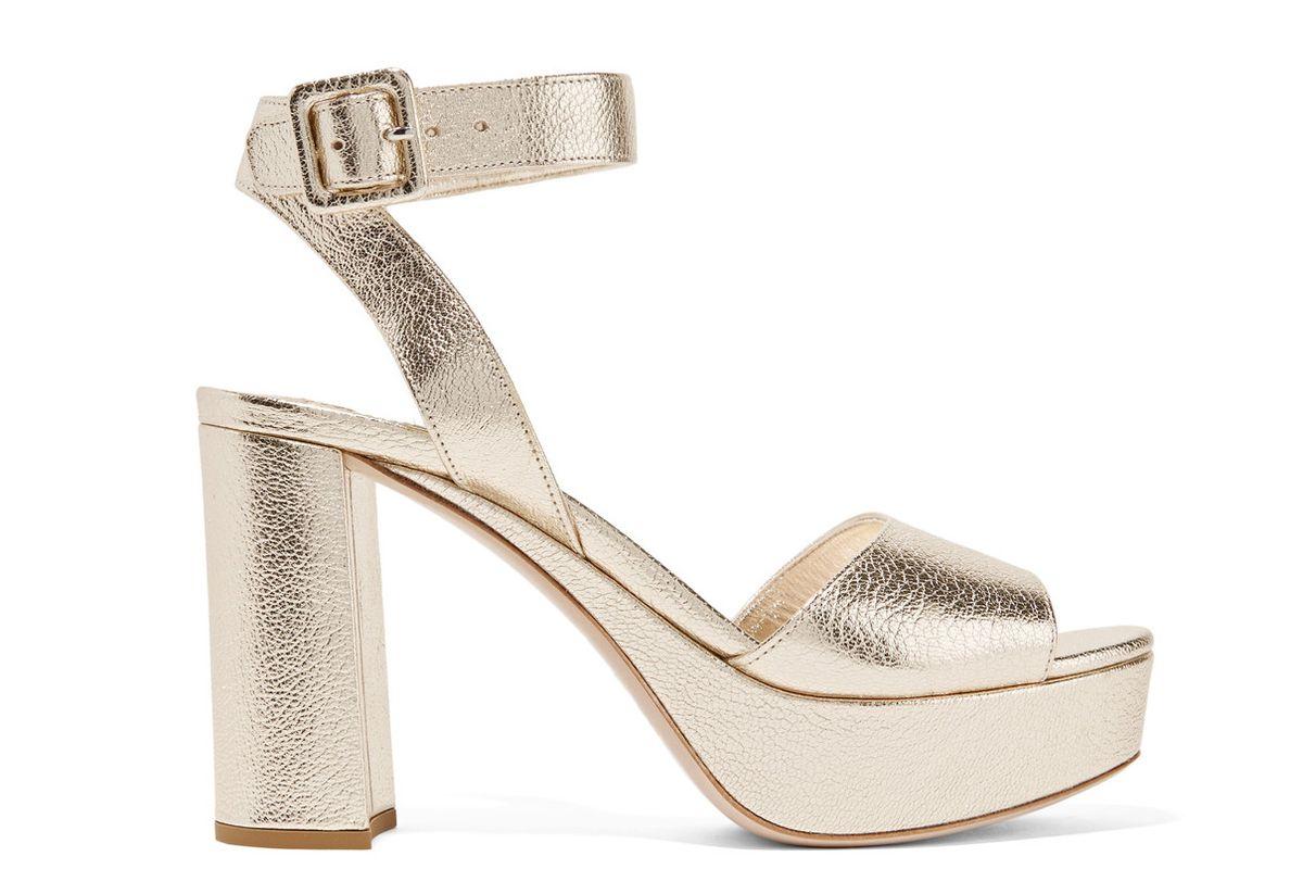 Metallic textured-leather platform sandals
