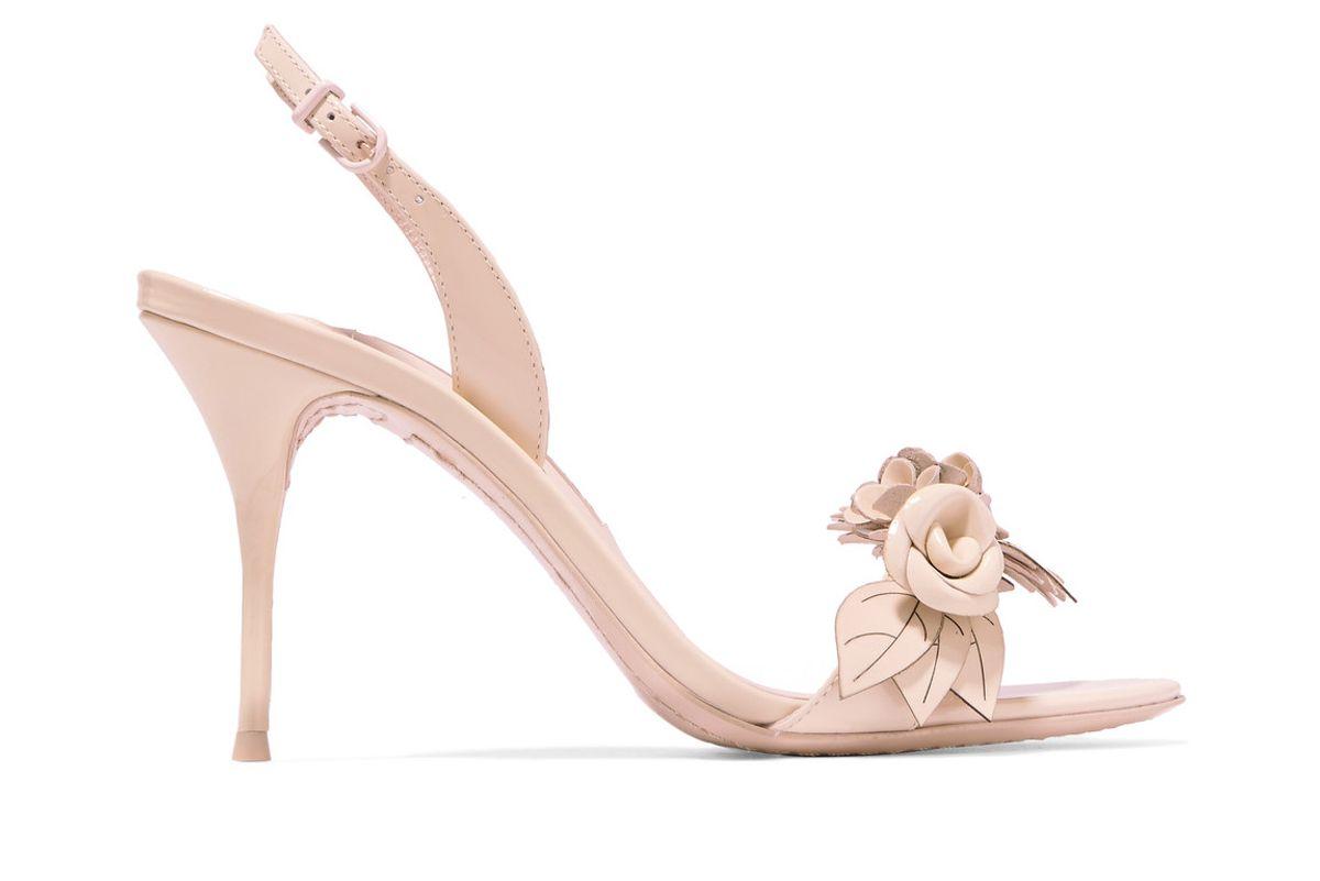 Lilico appliquéd patent-leather slingback sandals