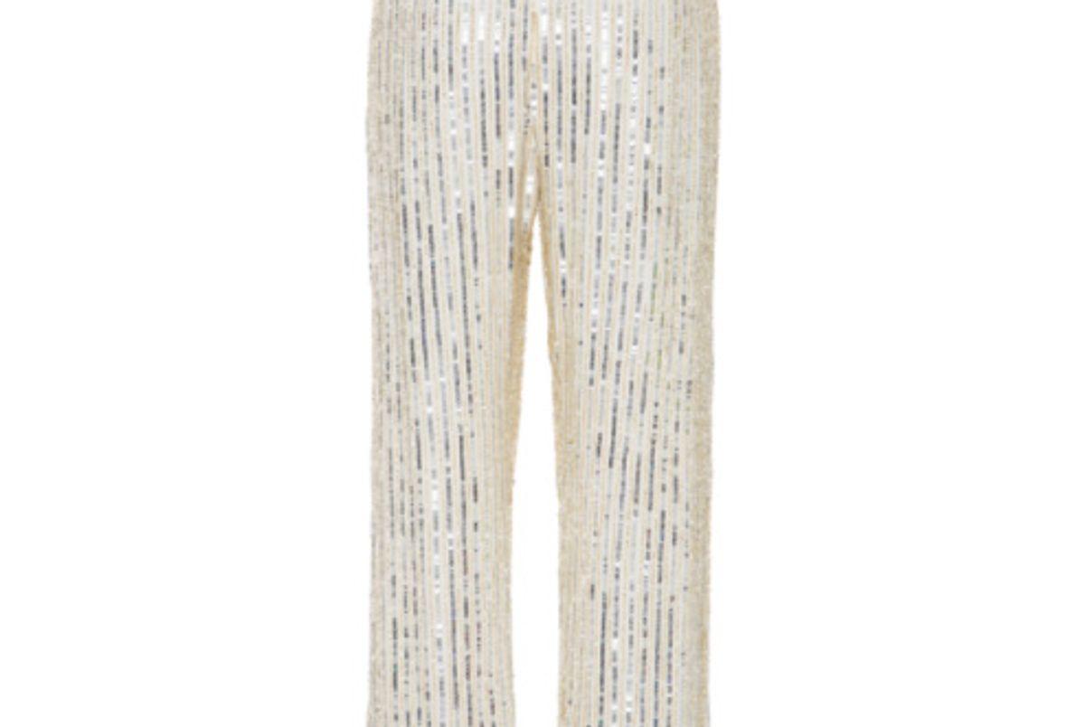 Embellished Georgette Wide-Leg Pants