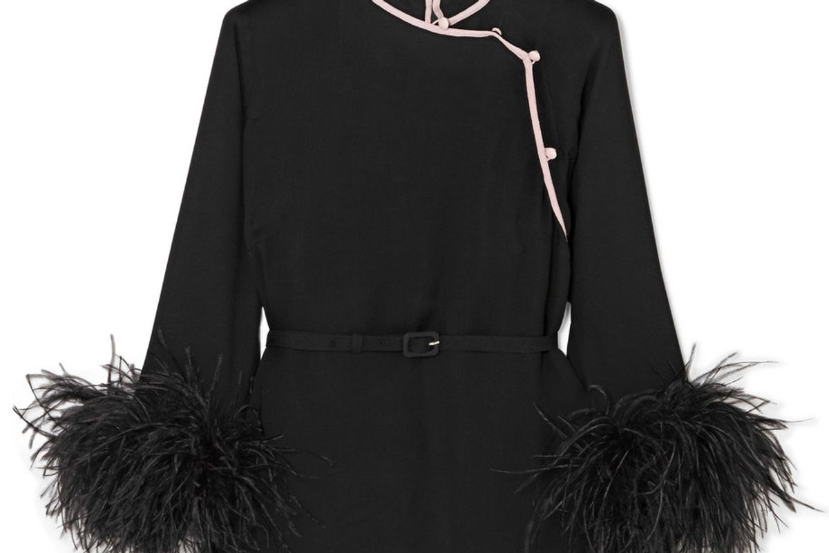 Feather-Trimmed Silk-Crepon Top