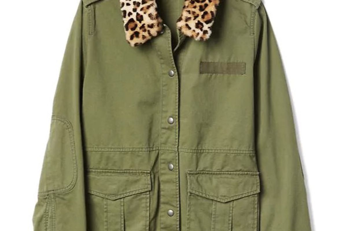 Detachable Leopard Collar Utility Jacket