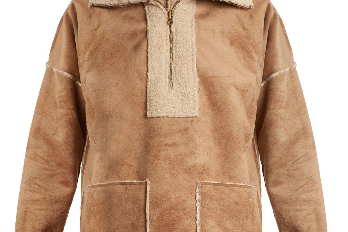 Rika Faux Fur-Trimmed Faux-Suede Jacket