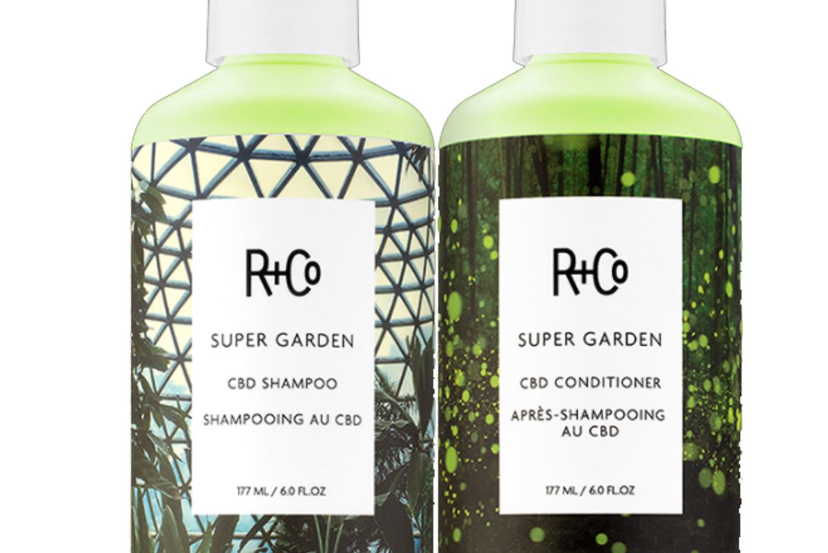 r and co super garden cbd shampoo and conditioner set
