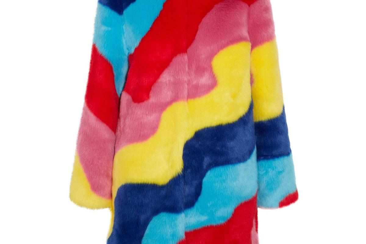 Rainbow Wave Striped Faux Fur Coat