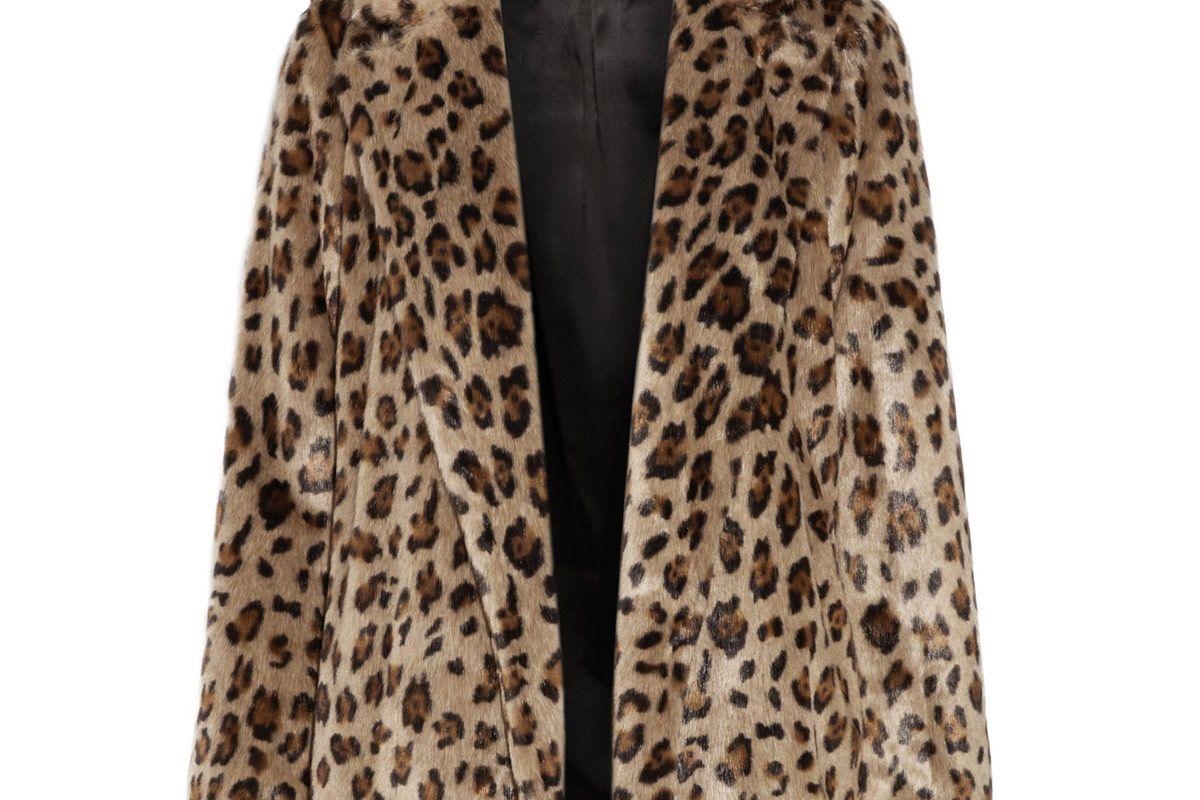 Clairene Leopard-Print Faux Fur Jacket