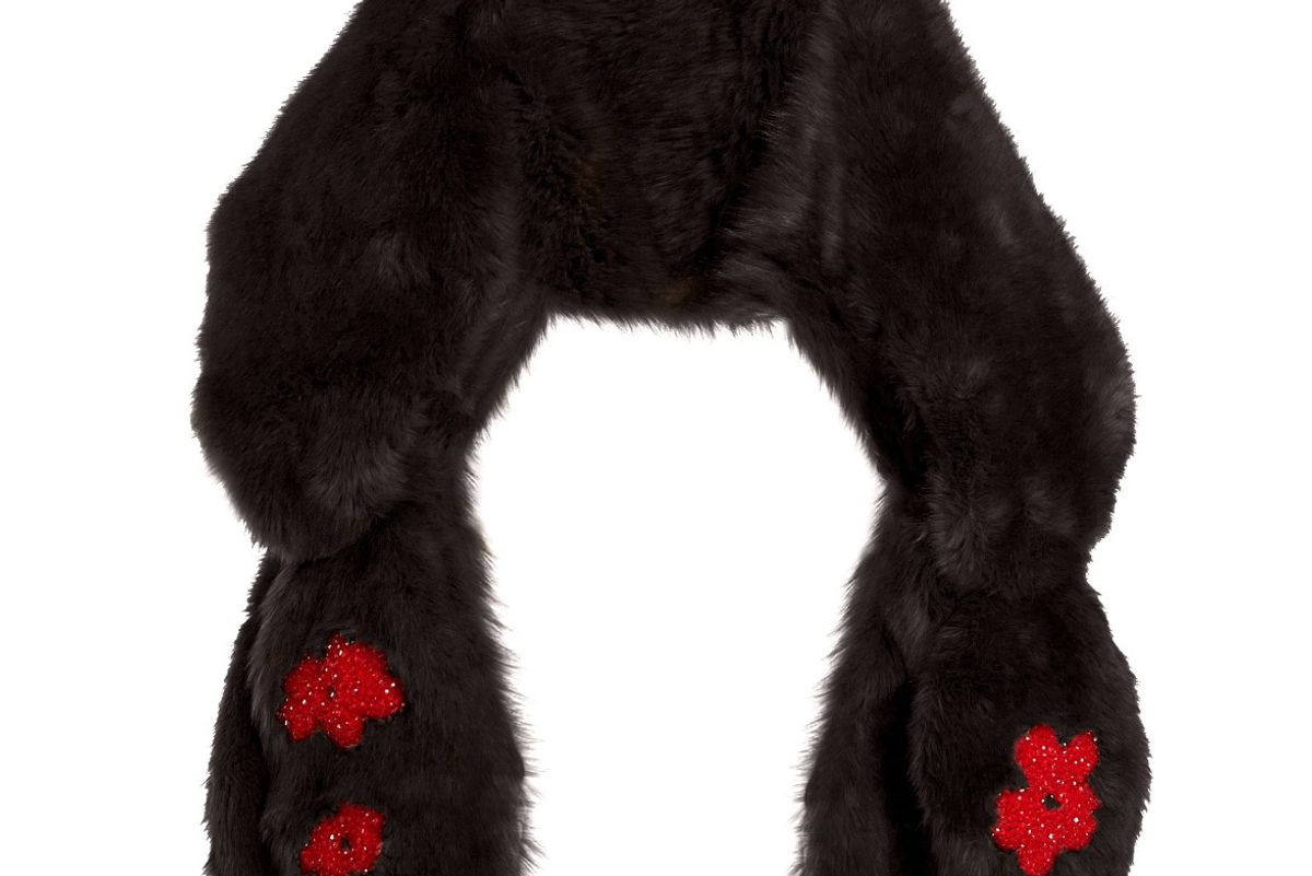 Bead-Embellished Bow Faux-Fur Scarf