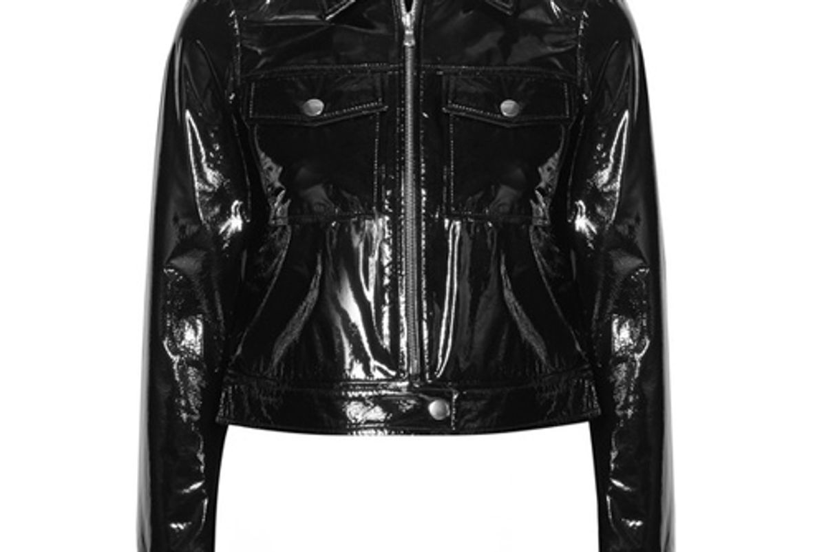 lex cropped textured patent leather jacket
