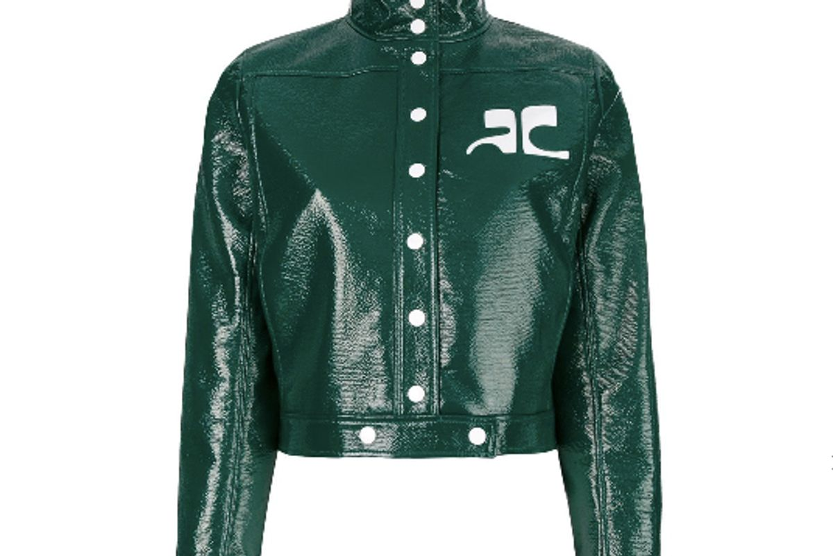 courreges patent cropped jacket