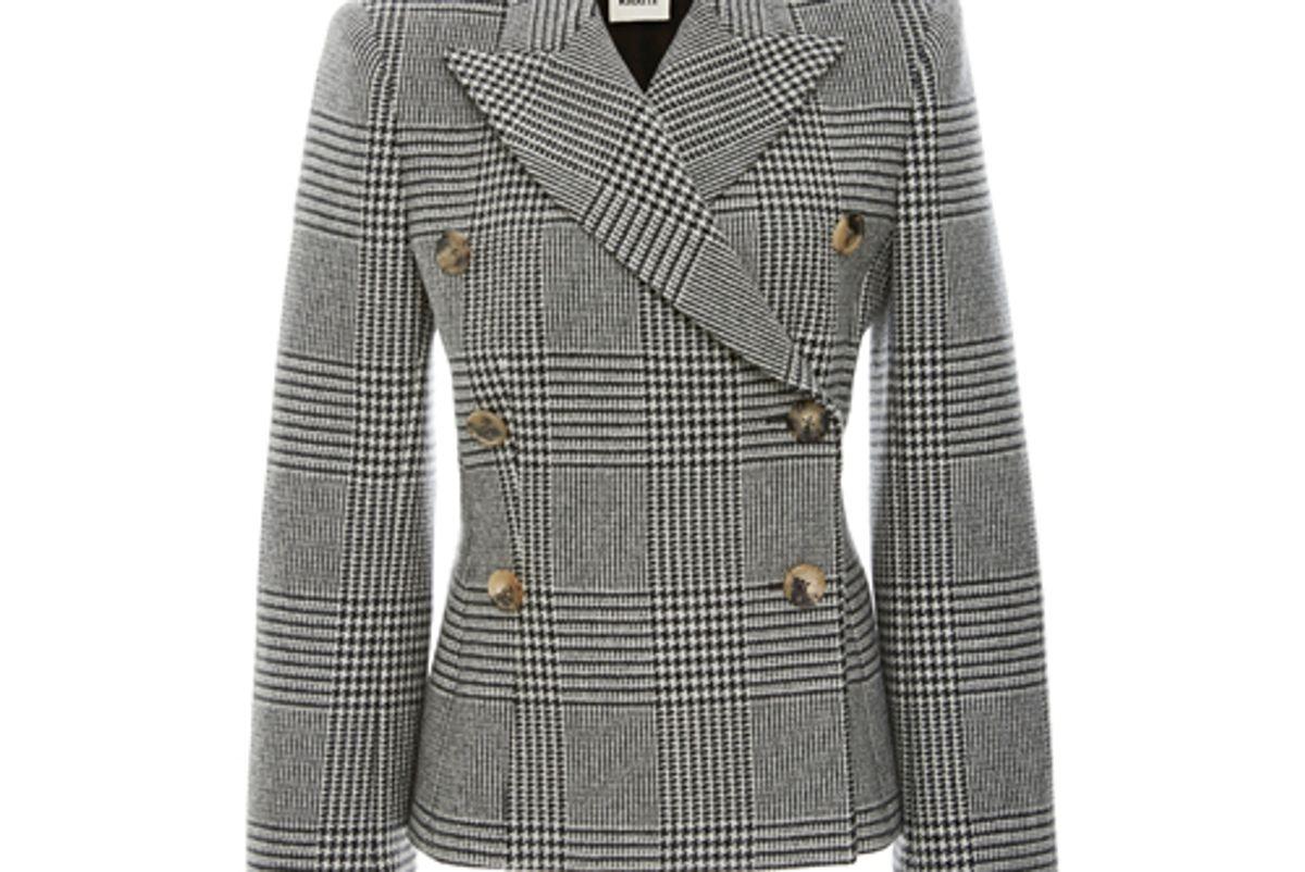 khaite cathy houndstooth wool blend blazer