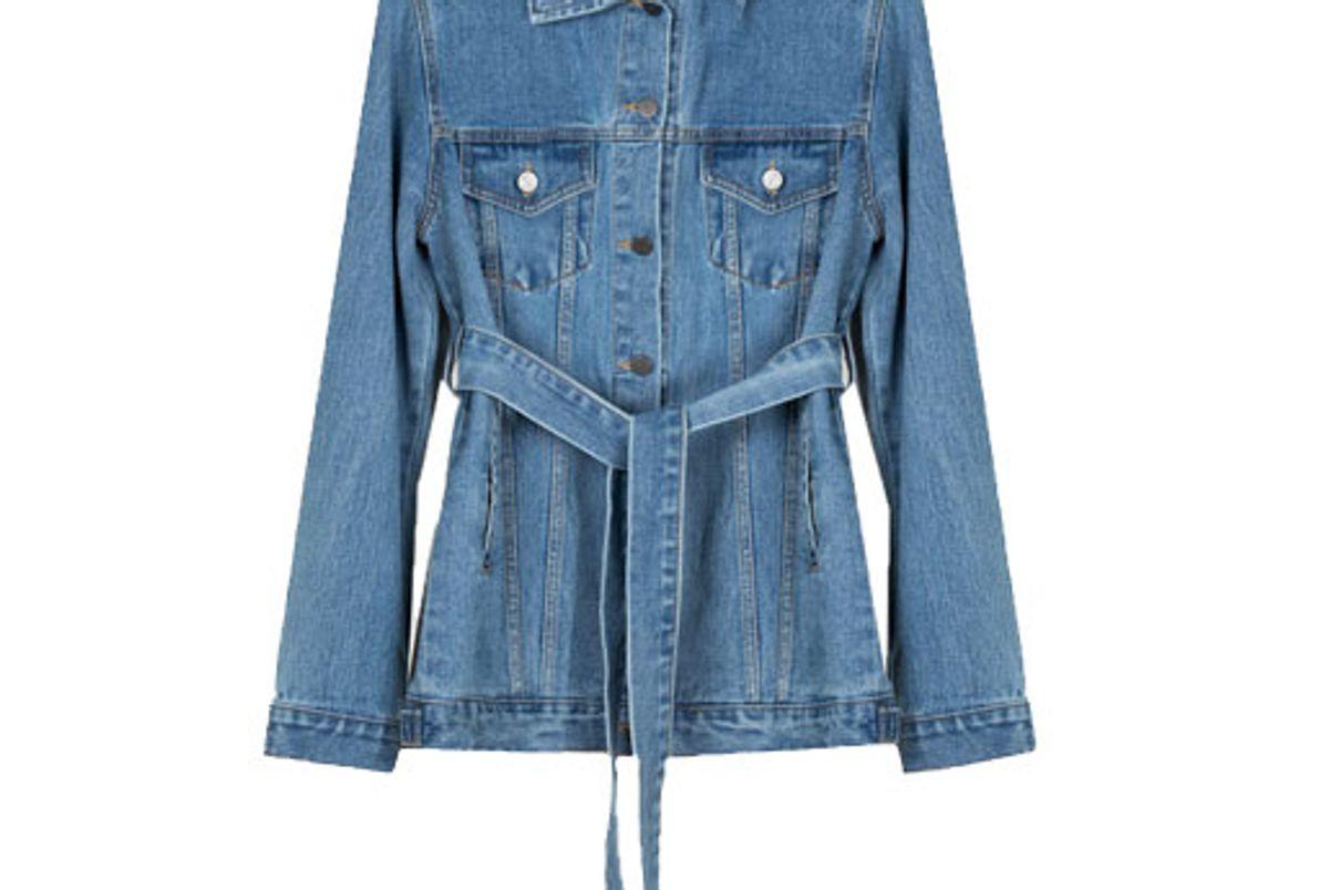 frankie long belted blue denim jacket
