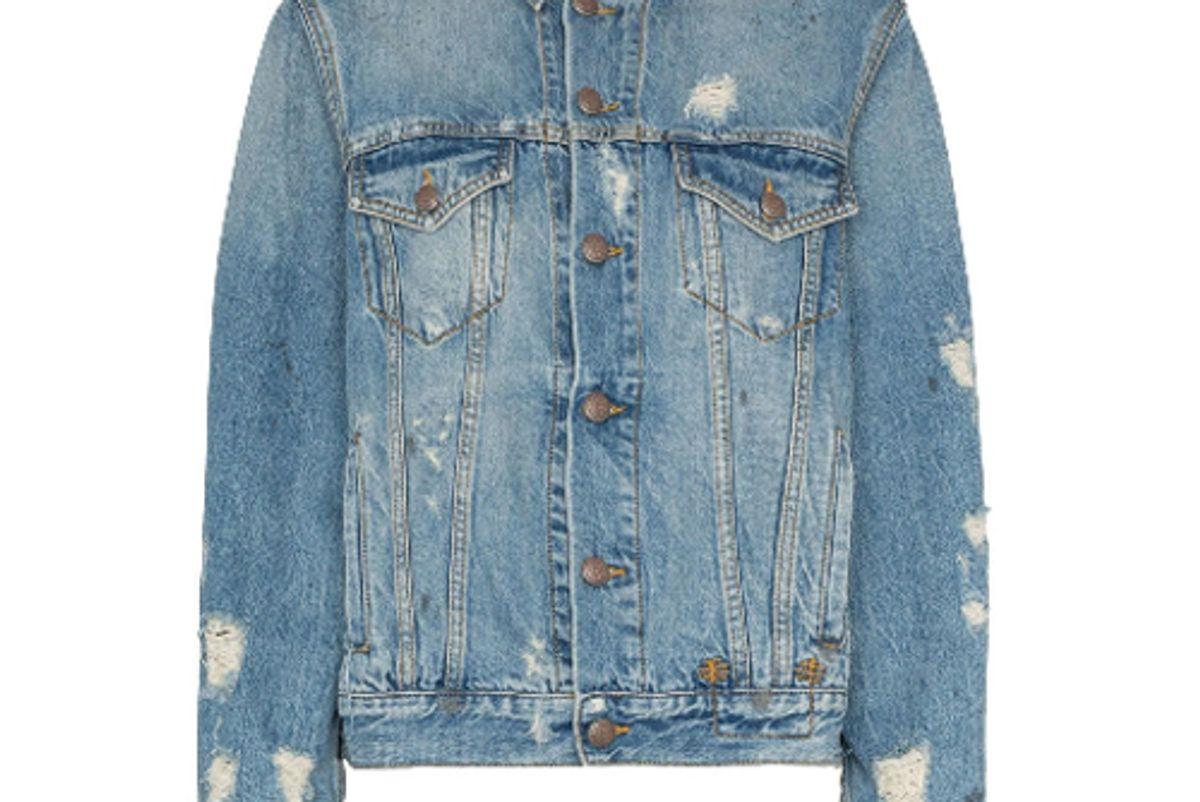 r13 distressed detail denim jacket